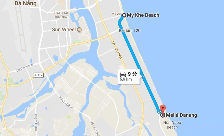 メリアダナンからミーケビーチの地図