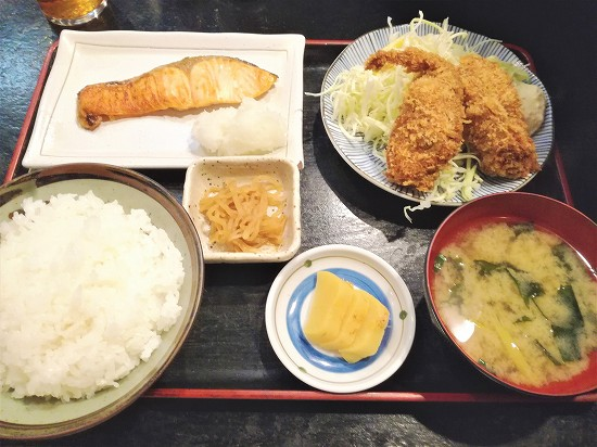かきフライ+焼き魚