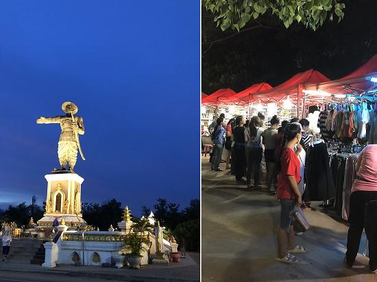 アヌウォン王像とナイトマーケット