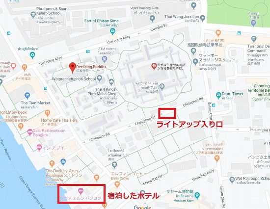 ワットポーライトアップ入り口地図