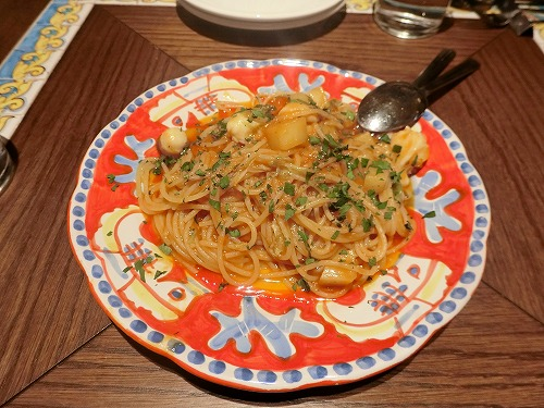 水ダコとエンダイブのトマトソーススパゲッティ