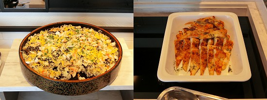 ピザマルゲリータと海鮮ばらちらし