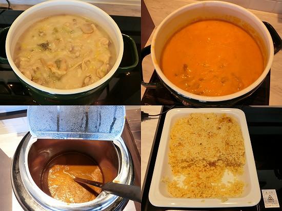 鍋物(チキンのクリーム煮・ビーフストロガノフ・ホテルカレー)とサフランライス