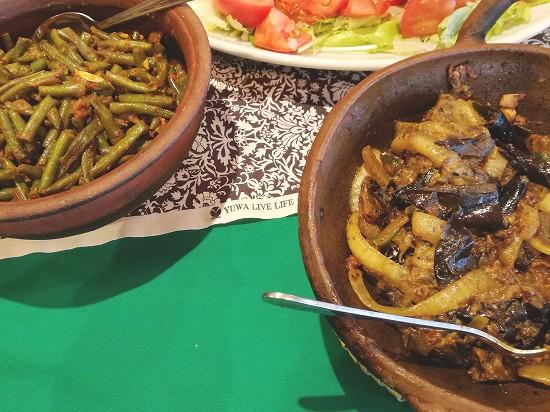 インゲンのカレーと茄子のカレー