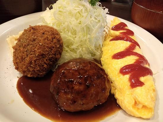 洋食亭おおはし 大森 スパいs-メンチ、ハンバーグ、オムレツ