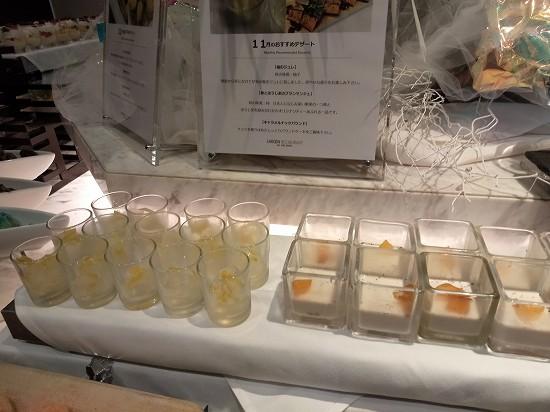 柚子のジュレと柿とほうじ茶のブラマンジェ ガーデンレストラン オールデイ ダイニング ランチビュッフェ