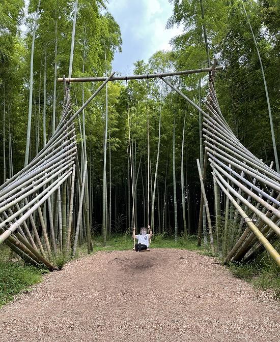 若山農場 竹のブランコにのる青年