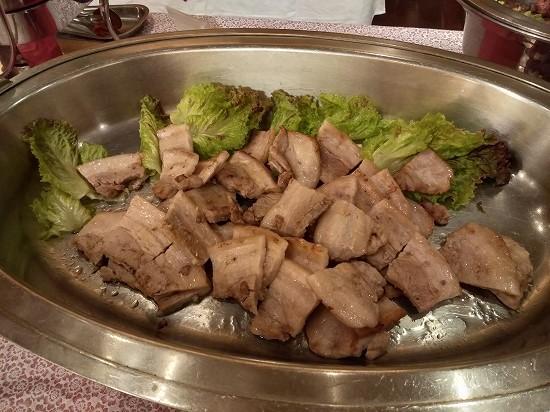 豚バラ焼き_湯本観光ホテル西京夕食